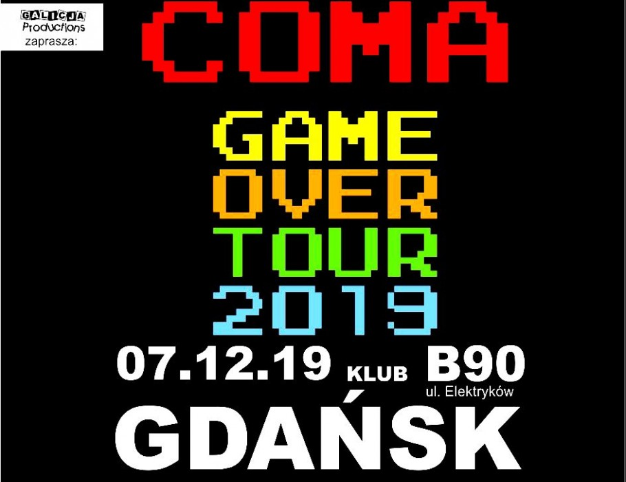 COMA Game Over Tour 2019 - trasa pożegnalna | Gdańsk [SOLD OUT]
