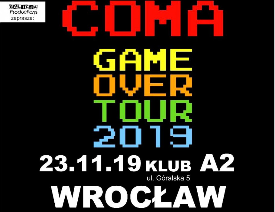 COMA Game Over Tour 2019 - trasa pożegnalna | Wrocław [SOLD OUT]
