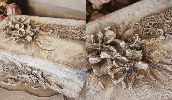 Going. | Kufer z kwiatami 3D - przestrzenne kwiaty malowane szpachelkami - DecoKreacje Home&Decor - Sklep
